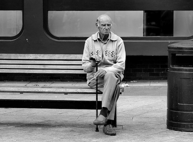 4-man sitting on bench