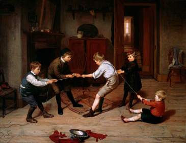 Brooker, Harry, 1848-1940; A Group of Children Playing at 'Tug of War' in a Domestic Interior